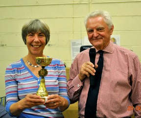 2nd Annual Quiz, 24 September 2011. BGOT chairman presents the cup to Marion Ohlendorf on behalf of the winning team.