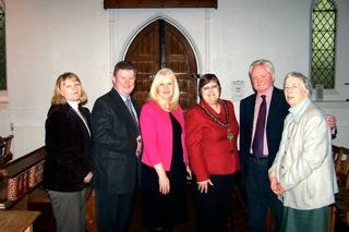 Launch of The Betty Game Opportunities Trust, 16 January 2010. Cllr Sue Myson, Mayor of Stevenage (centre), with BGOT trustees Hazel Jones,Jim Wilcock, Cllr Sharon Taylor, Revd Mervyn Terrett and Margaret Ashby.