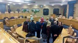Gathering in the Council Chamber at the Reception on 22 November 2016. Photo by Debbie Mills
