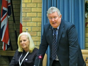 Cllr Sharon Taylor and BGOT chairman Jim Wilcock at the Reception on 22 November 2016. Photo by Steven Hodges.