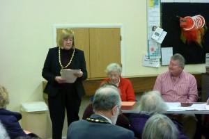 Pam Stuart, Mayor of Stevenage, speaking to BGOT supporters.